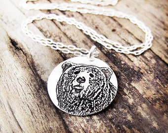 Silver Bear necklace, woodland animal jewelry, bear jewelry