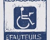Infinite Jest Original Woodblock Print / Les Assassins des Fauteuils Rollents / literary prints / litetary gifts / David Foster Wallace