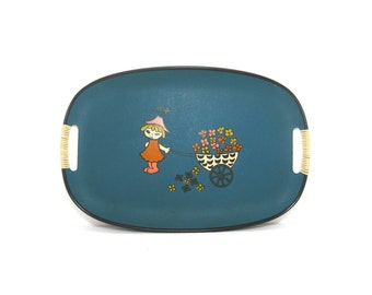 Vintage Decorative Tray . Blue Serving Tray . Kitchen Decor . Mod Girl with Flowers