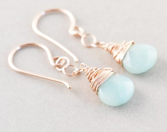 Amazonite Dangle Earrings, Mint Drop Earrings, Rose Gold Earrings, Bridesmaid Gift