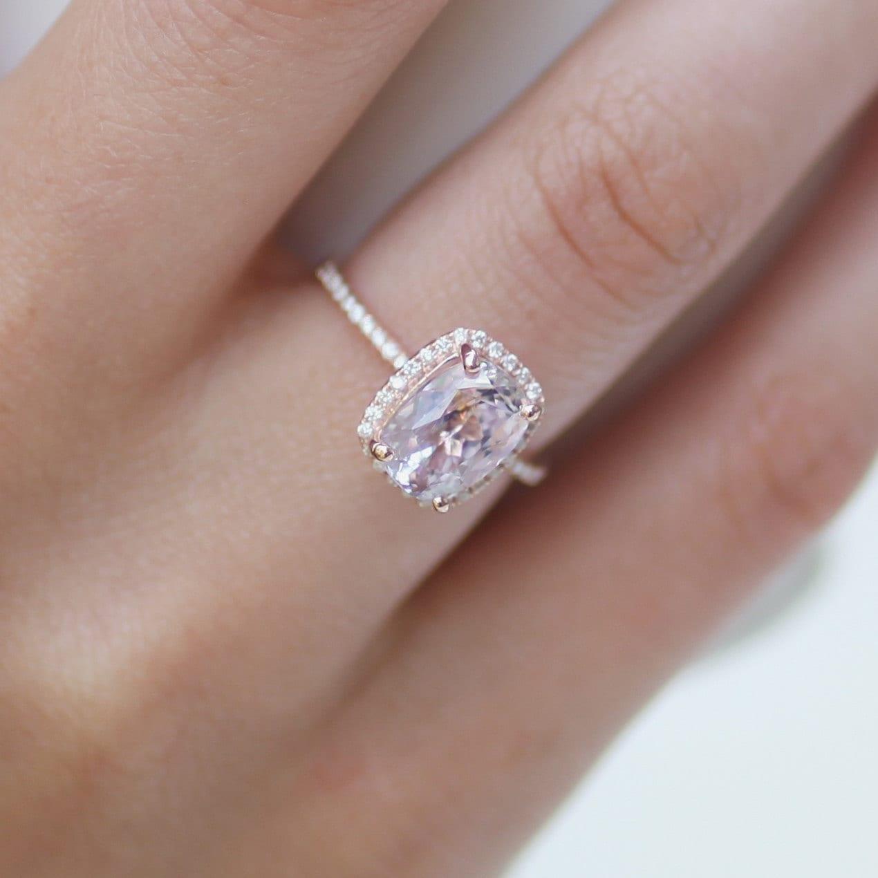 Sapphire 14k Rose Gold Diamond Ring Engagement Ring 🔎zoom