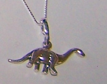 Sterling Silver 3D BRONTOSAURUS DINOSAUR Pendant and 22 InchChain - Prehistoric