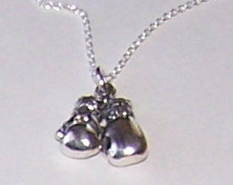 Sterling BOXING GLOVES Pendant and Chain - 3D - Sports