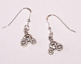 Sterling Silver 3D PUMPKIN COACH Earrings -- Fairy Tale, Cinderella