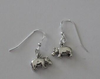 Sterling Silver 3D HIPPOPOTAMUS Earrings - HIPPO, Wildlife, Totem