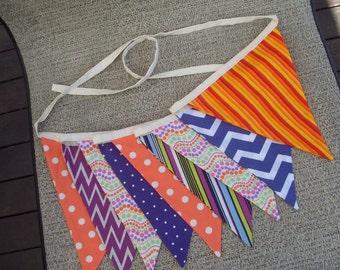 Ready to ship orange and purple fabric flag banner teacher classroom nursery party chevron outdoor bunting  polka dot