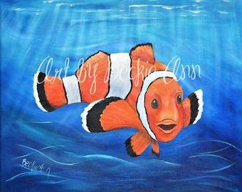 Clown Fish Ocean Life Sea Life Sea Animals Kids Nursery Stretched Canvas Art