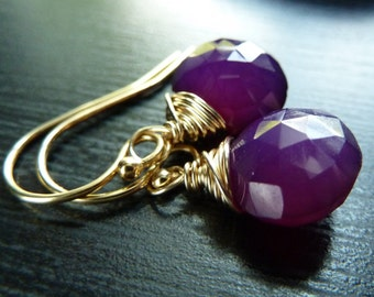 Neon, Bright, Grape Purple Chalcedony and 14t Gold Earrings Gift for women, mom, sister, daughter, wife