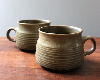 Sherwood. Pair of Denby English stoneware tea cups.