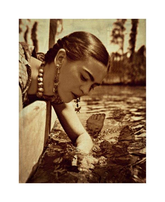 Frida Photomontage Instant Digital Download What The Water Gave Me Art Print Original Mixed Media Collage Surreal Surrealist