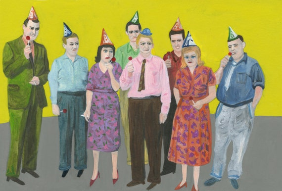Party people.   Original oil painting by Vivienne Strauss.