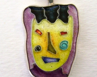 Cloisonne enamel jewelry necklace pendant.