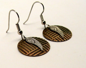 Mix metal steampunk jewelry earrings.