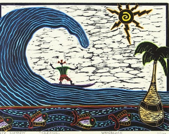 "Woodblock print ""Surfing "". Hand pulled print. Hand colored print. Printmaking."