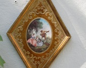 V I N T A G E  Italian Florentine gold gilded art - diamond shape - color print in center of strolling minstrel with two ladies