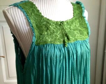Wild Ocean - Hand Dyed Ombre Batik Crochet Yoke Vintage Mexican Sleeveless Long Dress