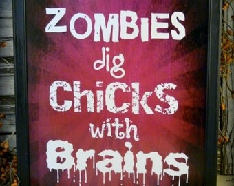 Halloween Zombies sign digital pdf - purple brains chicks words vintage style paper old 8 x 10
