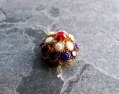 Austrian Crystal-Crystal Button-Vintage Button-Vintage Beads-Vintage Austrian Crystal Beehive Button-Red White & Blue-Small-1