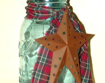 Vintage Mason Jar Candle Holder with a Rusted Star and Tied with Homespun
