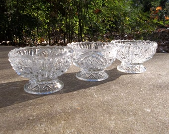 Vintage Salt Cellars Open Salts Individual Salt Dish HIGBEE Glass Grapefruit Bowls French Country Cottage  Prairie Wedding Decor Set of 3