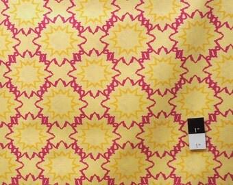 CLEARANCE Free Spirit Design Loft PWFS004 Kaleidoscope Starred Yellow Cotton Fabric 1 Yard