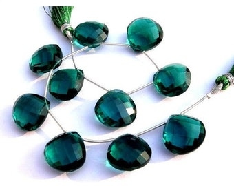 8 Inches - AAA Teal Blue Quartz Faceted Heart Briolettes Calibrated Size 16x16mm approx