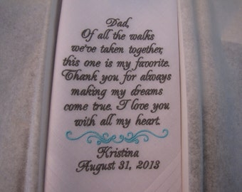 Father of the Bride Custom Embroidered Wedding Handkerchief