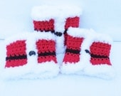 Red Crocheted Santa Suit Hot / Cold Cup Sleeve , Water Bottle Cover , Can Cozy