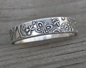 MADE to ORDER Spring Scene Band Rustic Sterling Stacking Ring PMC Artisan Jewelry