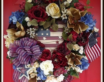 Americana Wreath, Fourth of July Wreath, July 4th Wreath, Spring Wreath, Summer Wreath, Rustic Wreath, Patriotic Wreath, Made in The USA