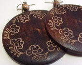 Vintage Round Wooden Earrings with Floral Design - Large Circle / Disc Earrings