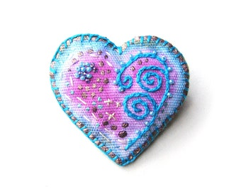 Aqua Hand Painted Heart, Embroidered Heart Pin, Fiber Art Brooch, Pink and Gold Pin with Embroidered Aqua Spirals