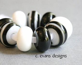 Black & White Handmade Lampwork Glass Rondelle Beads, Set of 9