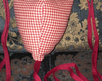 Renaissance Padded Red and White Gingham Fabric Codpiece with Ties