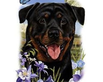 ROTTWEILER Dog Head with Flowers on ONE 18 x 22 inch inch Fabric Panel for Quilting and Sewing