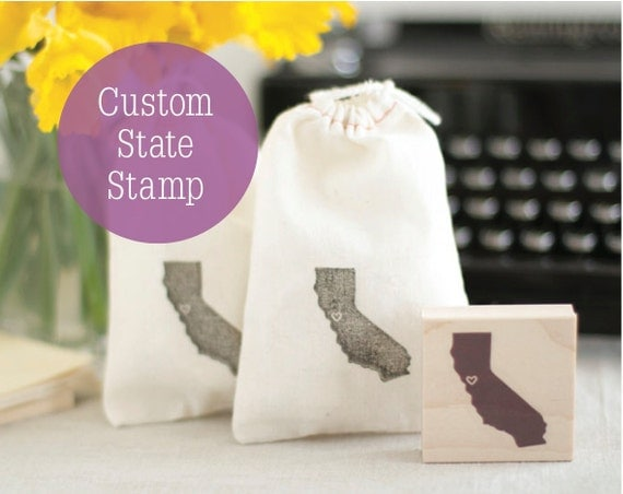 Custom State Stamp - Hand Carved Wood Mounted Rubber Stamp - Any State - Great 4 Destination Weddings and Save-the-Dates
