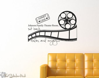 Your Family Name Theater Movie Room Sit Back Relax Enjoy • Vinyl Lettering • Movie Decor • Wall Art Graphics Lettering Decals Stickers 1668