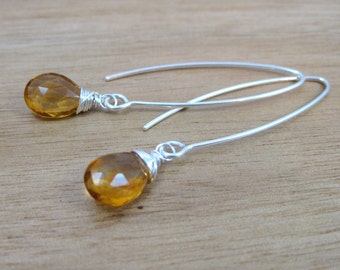Citrine Earrings Sterling Silver Golden Citrine Jewelry Dangle Earrings November Birthstone Jewelry Birthstone Earrings  - Essence