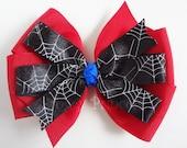 Spiderman Bow - Red Blue and Black Pinwheel Bow - No Slip Velvet Grip Hair Clip