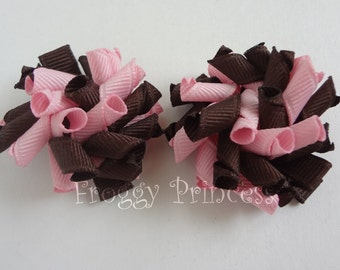Pink and Brown Mini Korker Bows - Corker Curlies Pigtails- No Slip Hair Clippies
