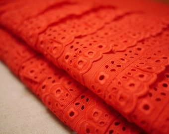 Vintage Red Layered Ruffled Fabric