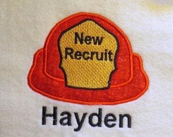 New Recruit Fireman Helmet Applique Embroidery Designs - 2 Sizes - CUSTOM  REQUEST WELCOME