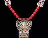 Stylized Buddhist Treasure Vase' Symbol in Silver Metal