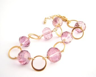 Mystic Pink Tourmaline Quartz Bracelet, Gold, Rose Pink, Classic, Wire Wrapped