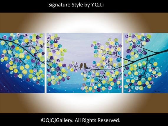 "44""Contemporary Landscape acrylic painting Tree Love Birds Wall art Impasto ""Moonlight Sonata"" by QIQIGALLERY"