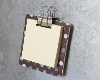 Magnetic Sticky Note Holder - Purple and Green Polka Dot
