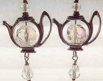 Silver, Teapot, Tea Time Jewelry, Crystal, Dangle, Earrings