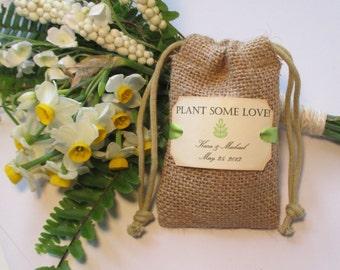 Burlap wedding favor bags - Personalized - Plant some love