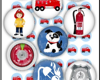 INSTANT DOWNLOAD Rusty the Fire Fighter 1 inch bottlecap digital collage sheets boys dalmation puppy hat badge fire extinquisher gauge