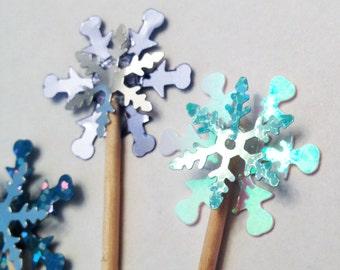 Snowflake Cupcake Toppers / Picks Frozen Birthday Party Winter Wedding 12 - one dozen